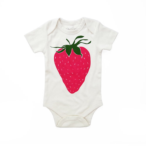 Strawberry Organic Cotton Baby Bodysuit in Natural
