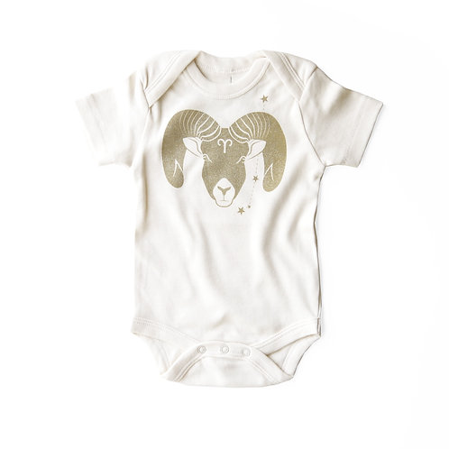Aries Organic Baby Bodysuit in Natural [March 21 - April 19]