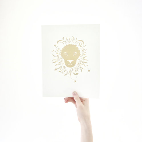 Leo 8 x 10 Silk Screen Paper Print - Unframed