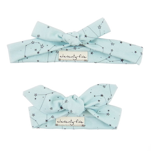 Zodiac Stars on Blue Organic Knotted Headband in Adult and Baby
