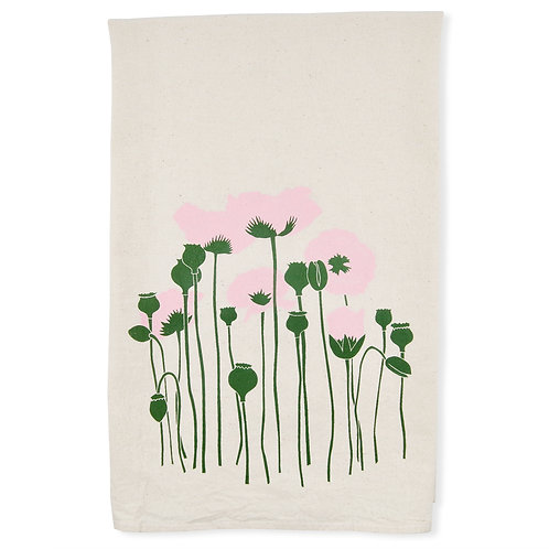 Poppies All Natural Flour Sack Tea Towel in Powder Pink