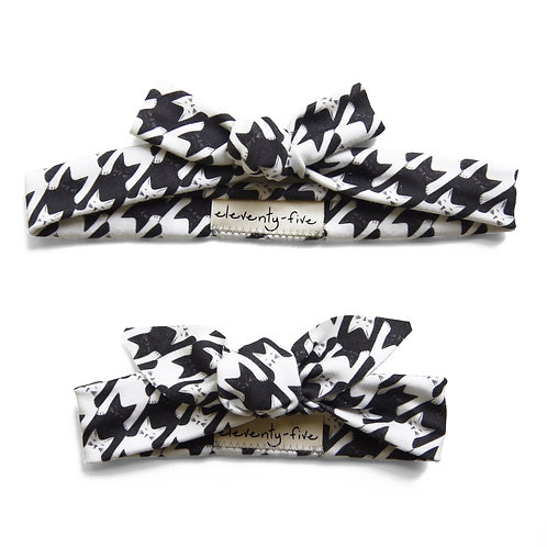 Cats-Tooth in Black + White Organic Knotted Headband in Adult and Baby
