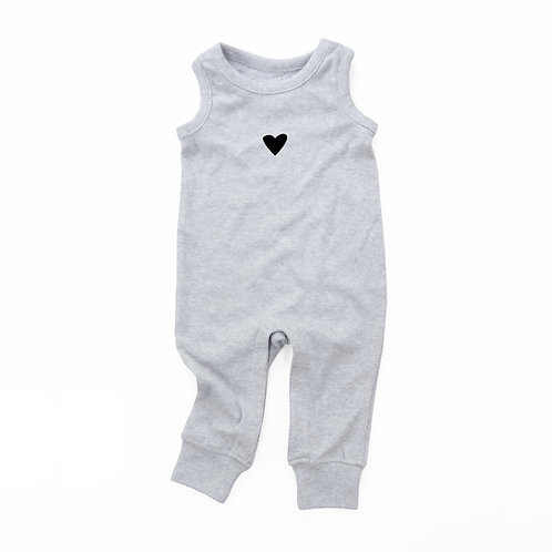 Black Heart Organic Cotton Baby Tank Romper