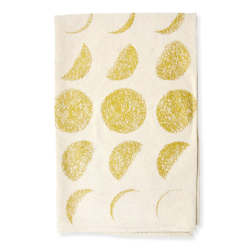 Moon Phase All Natural Flour Sack Tea Towel in Gold