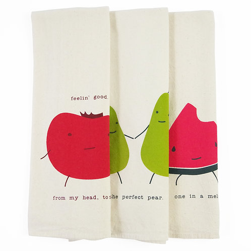 Punny Fruit Bundle of Three All Natural Flour Sack Tea Towels