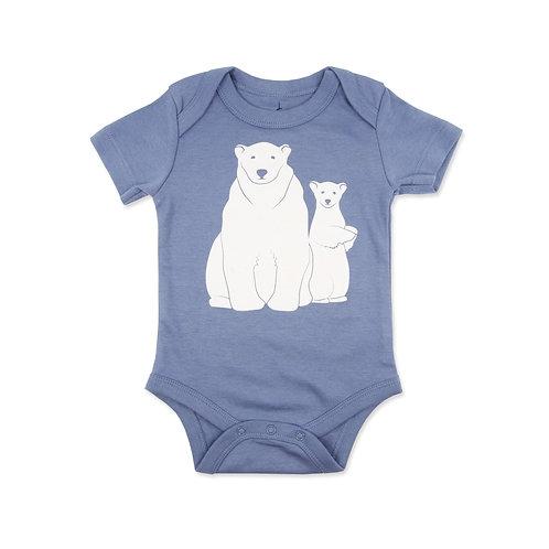 Polar Bears Organic Cotton Baby Bodysuit in Steel Blue