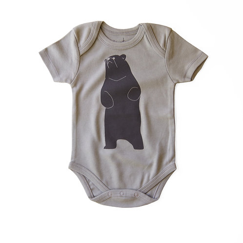 Be the Bear Organic Cotton Baby Bodysuit in Grey