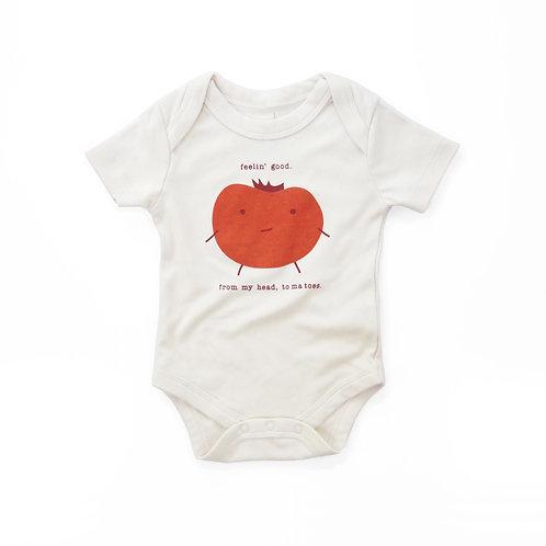 Feel Good Tomato Organic Cotton Baby Bodysuit in Natural