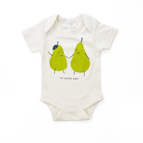 Perfect Pear Organic Cotton Baby Bodysuit in Natural
