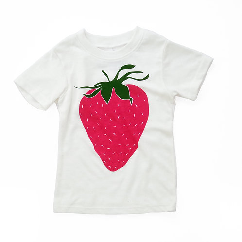 Strawberry Eco-Blend Baby + Kids Tee in Natural