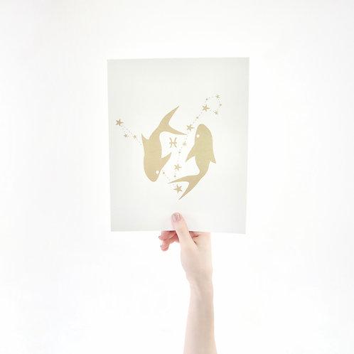 Pisces 8 x 10 Silk Screen Paper Print - Unframed