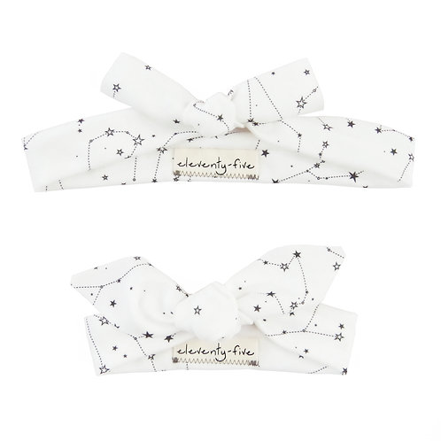 Zodiac Stars on White Organic Knotted Headband in Adult and Baby