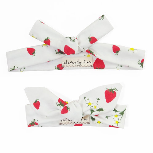 Strawberries Organic Knotted Headband in Adult and Baby