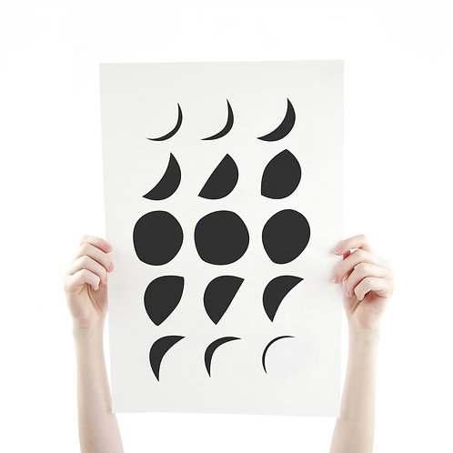 Moon Phase in Black 12 x 18 Silk Screen Paper Print - Unframed