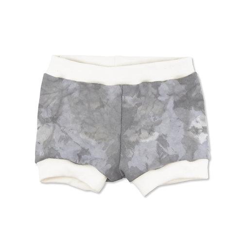 Grey Color Splash Dip Dyed Organic Shorties in 6-12m