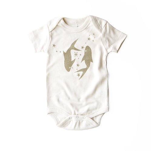 Pisces Organic Baby Bodysuit in Natural [February 19 - March 20]