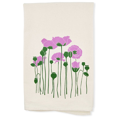 Poppies All Natural Flour Sack Tea Towel in Purple