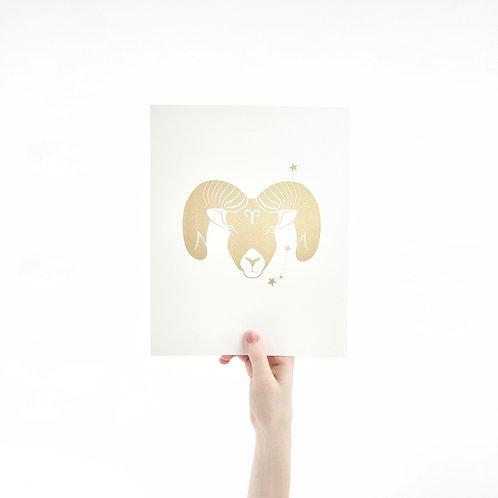 Aries 8 x 10 Silk Screen Paper Print - Unframed