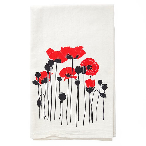 Poppies All Natural Flour Sack Tea Towel in Red