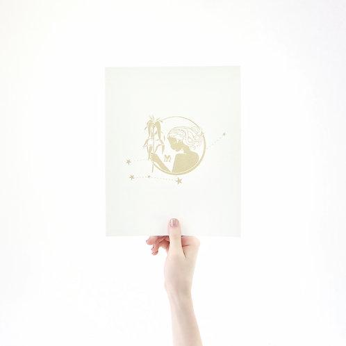 Virgo 8 x 10 Silk Screen Paper Print - Unframed