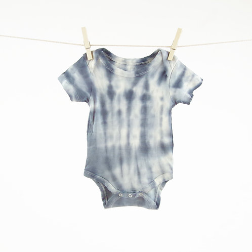 Navy Blue Color Splash Dip Dyed Organic bodysuit in 0-3m