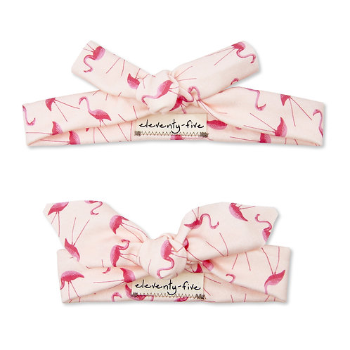 Pink Plastic Flamingos Organic Knotted Headband in Adult and Baby
