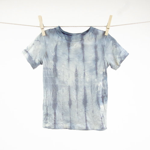 Navy Blue Color Splash Dip Dyed Organic Kids Tee in 12-18m