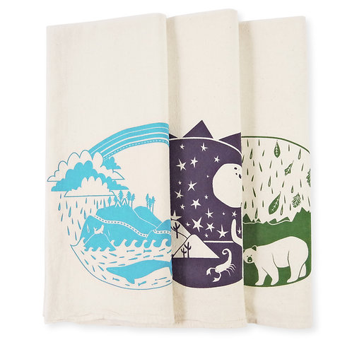 Explorer Bundle of Three All Natural Flour Sack Tea Towels
