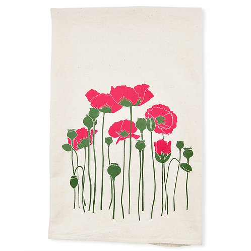 Poppies All Natural Flour Sack Tea Towel in Coral