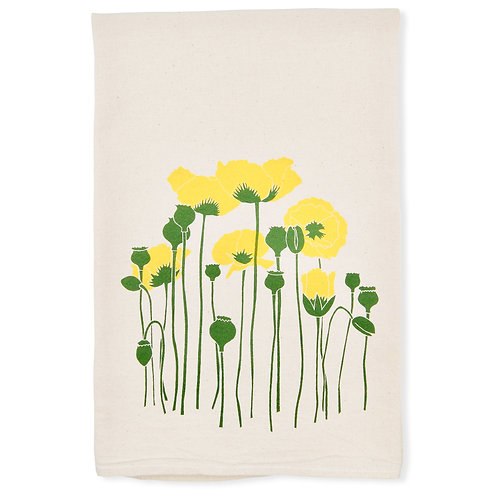 Poppies All Natural Flour Sack Tea Towel in yellow
