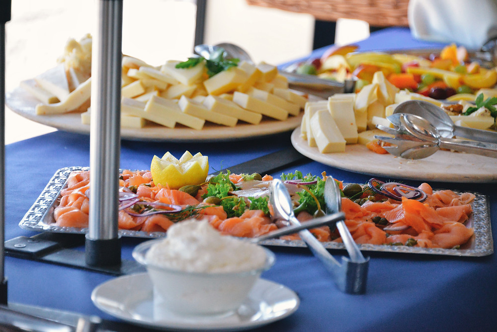salmon, cheese and fruits