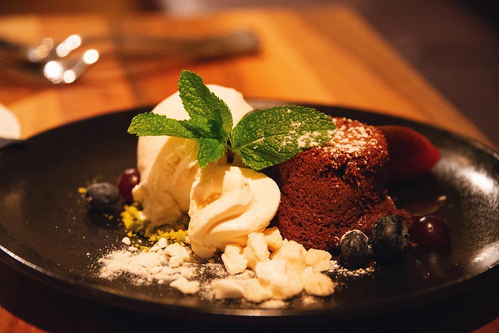 warm chocolate cake with liquid heart