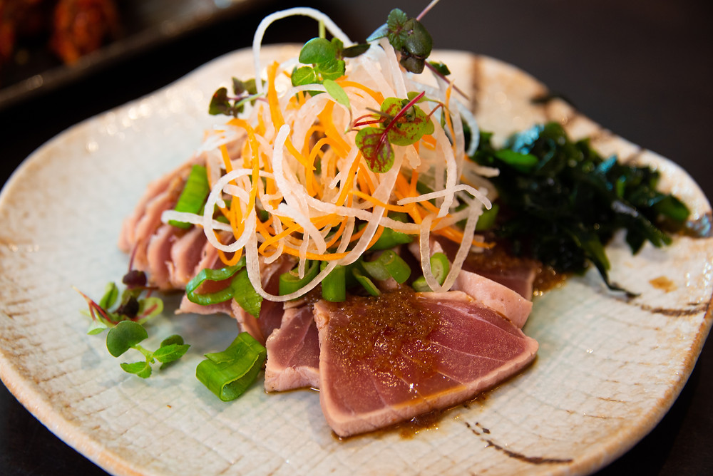 Maguro no Tataki, seared tuna sashimi with a light soysauce