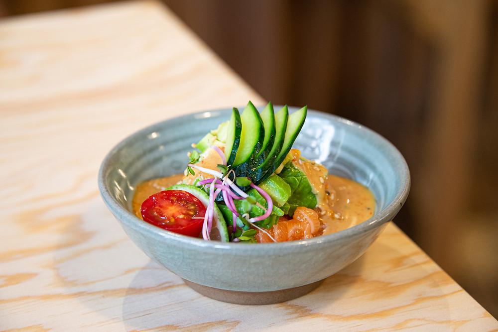 fresh salmon avocado tatare with homemade teriyaki-yuzu sauce by Thefoodlovies