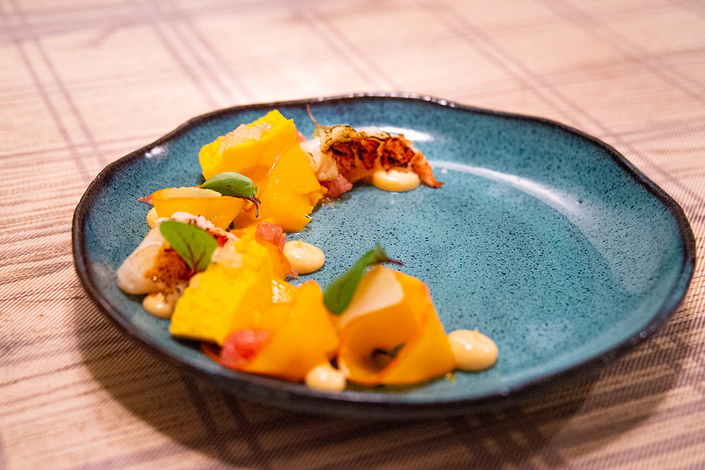 poached lobster tail with pumpkin and Cedro lemons