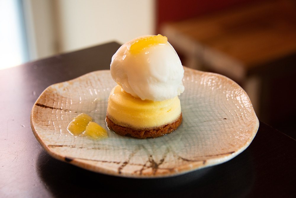 Yuzu Cheesecake with Yuzu ice cream