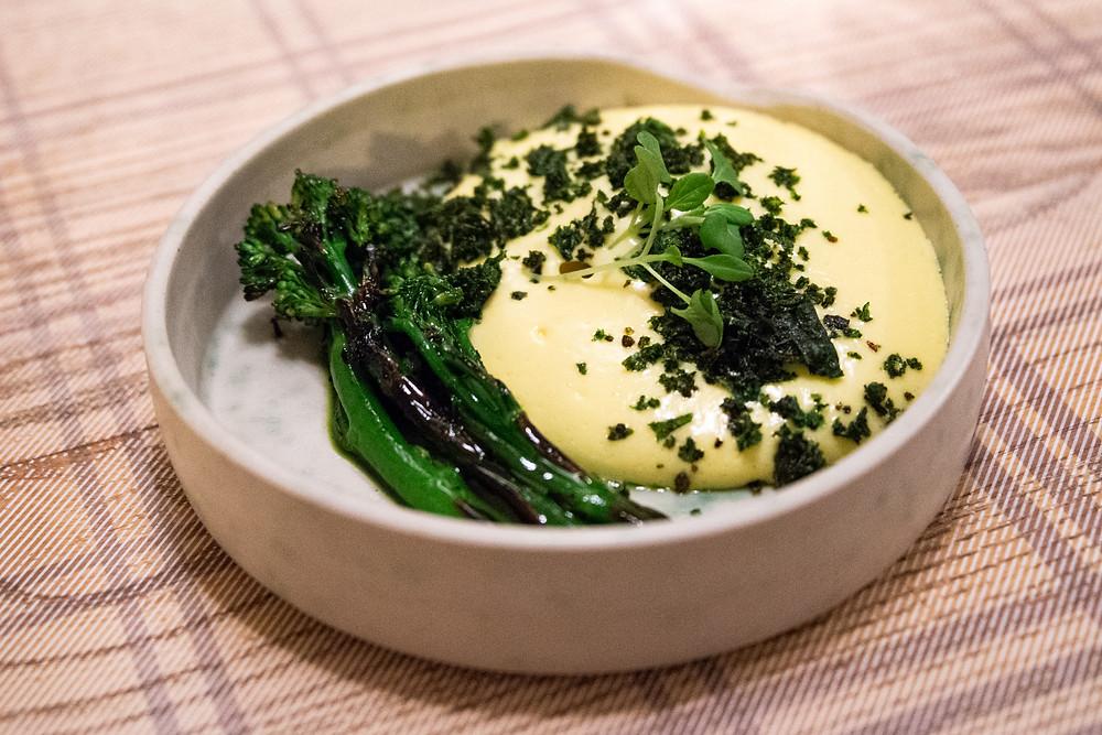 rilled wild broccoli with Yuzu hollandaise sauce, kale and furikake