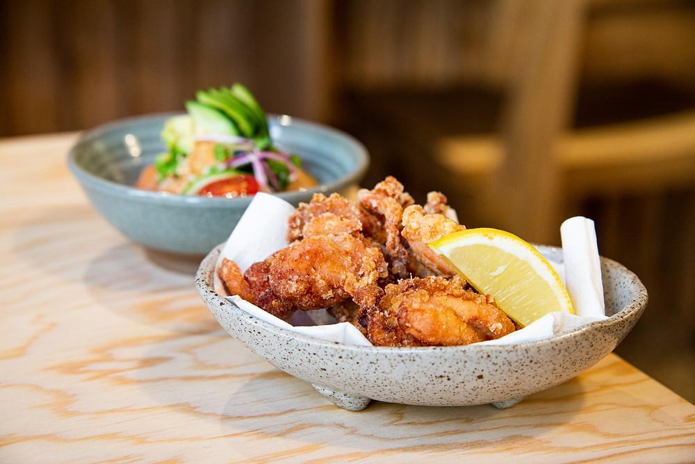 chicken karaage and salmon avocado tatare by Thefoodlovies