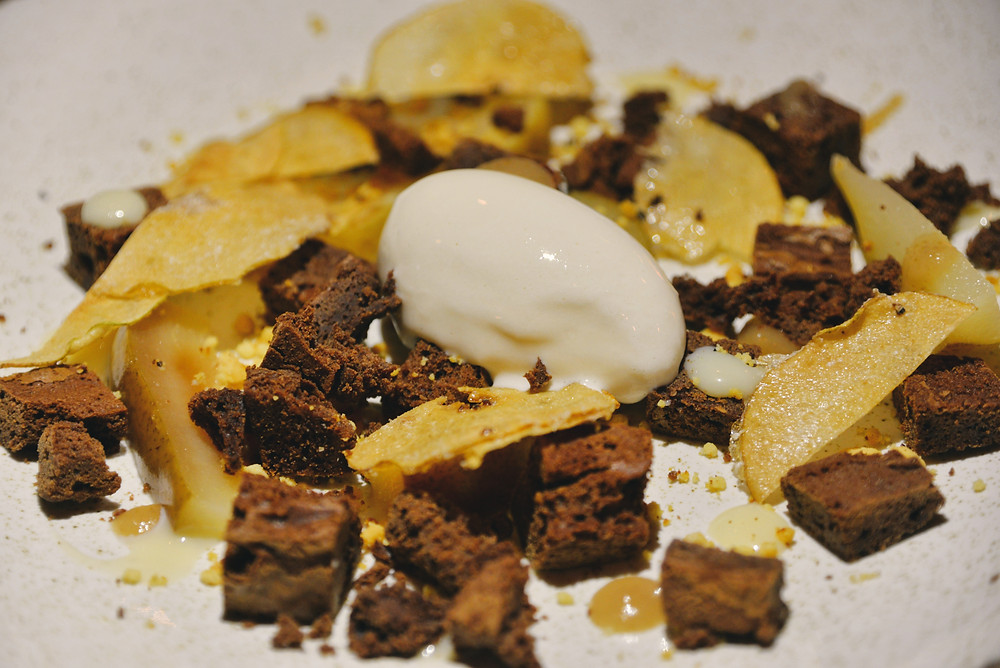 Brownie Crumble with Pear, Milk Ice Cream and Caramel