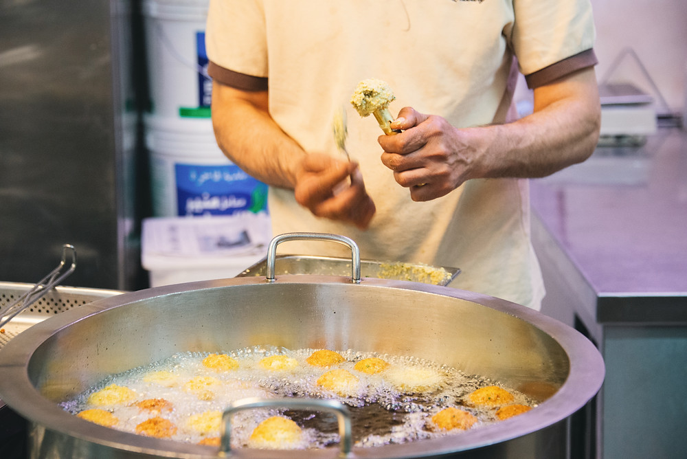 preparing Falafel at Orient Catering