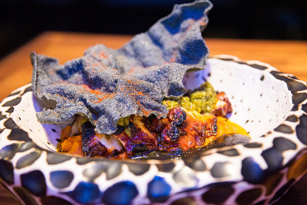 Pulpo Anticuchero, grilled Pulpo Nikkei style with manioc puree at Püente by Thefoodlovies
