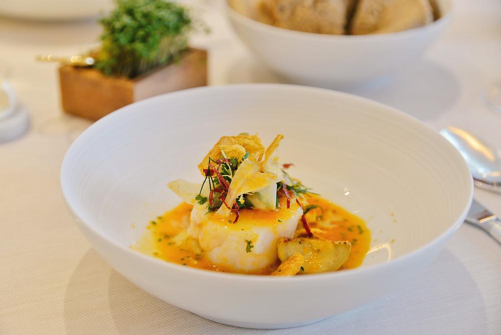 North Sea cod with artichoke, bottarga and sherry vinegar