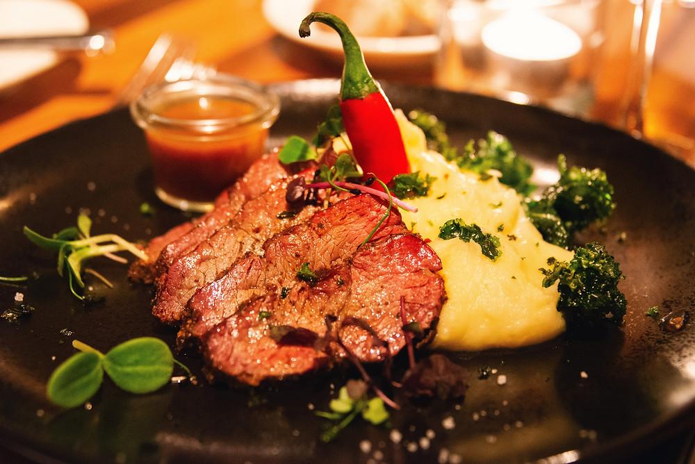 beef hanger steak from their smoker