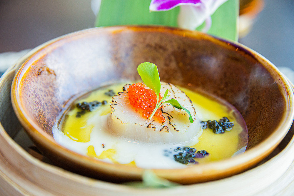 steamed scallops with saffron-egg white custard and Oona caviar at Spices Kitchen by Thefoodlovies