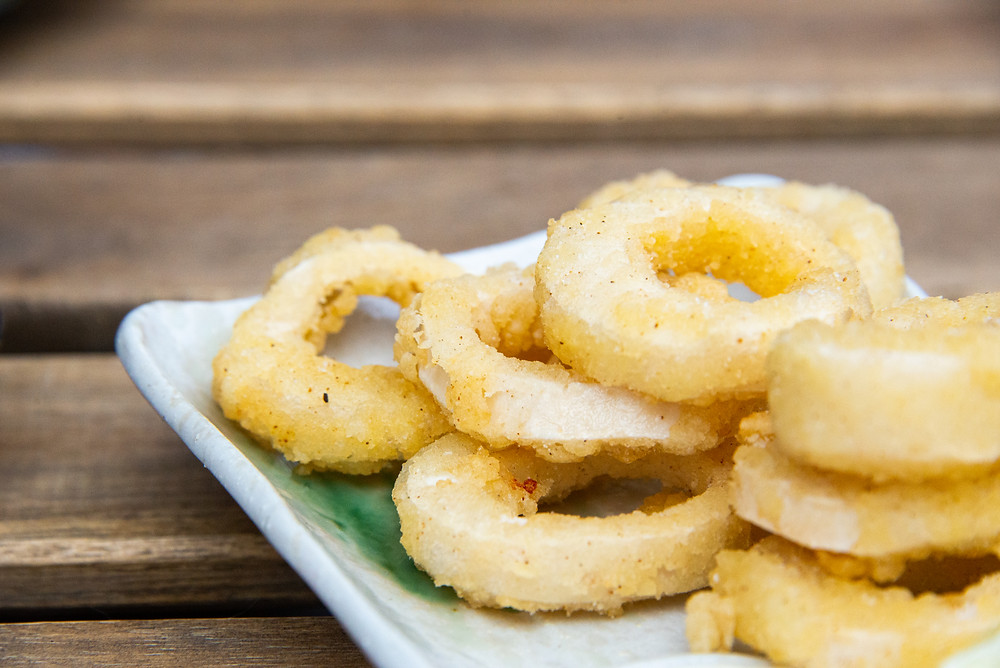 fried no squid rings with a vegan yuzu mayonnaise