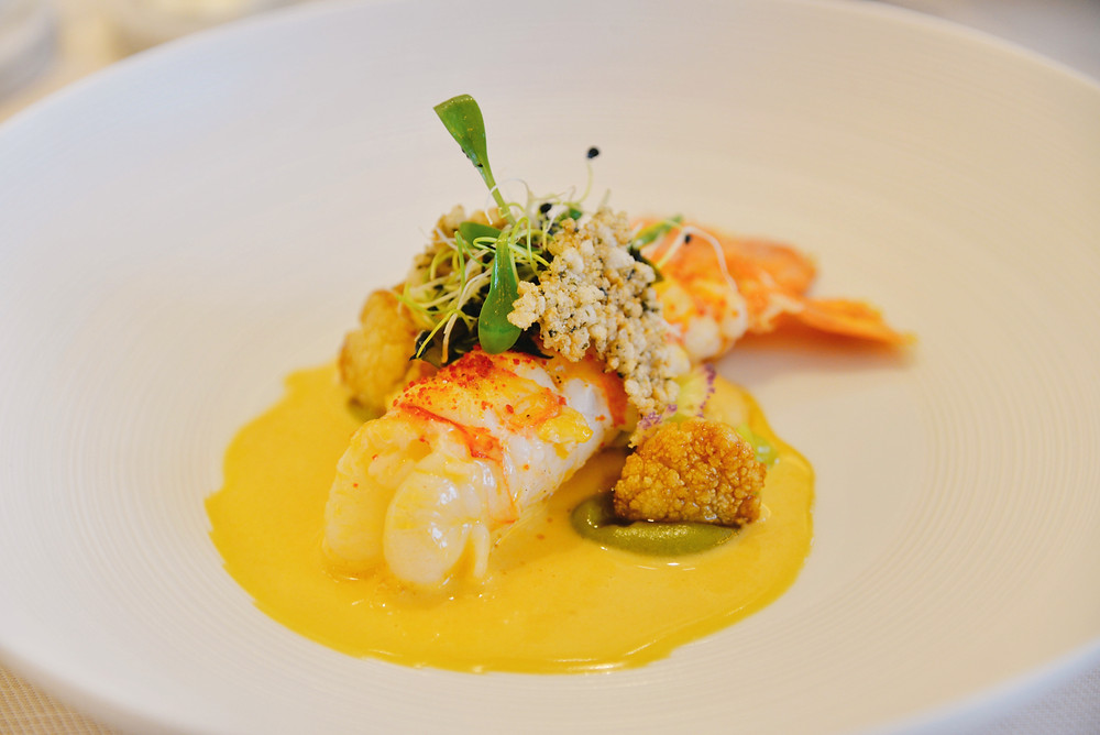 Norway lobster with cauliflower, seaweed and cilantro
