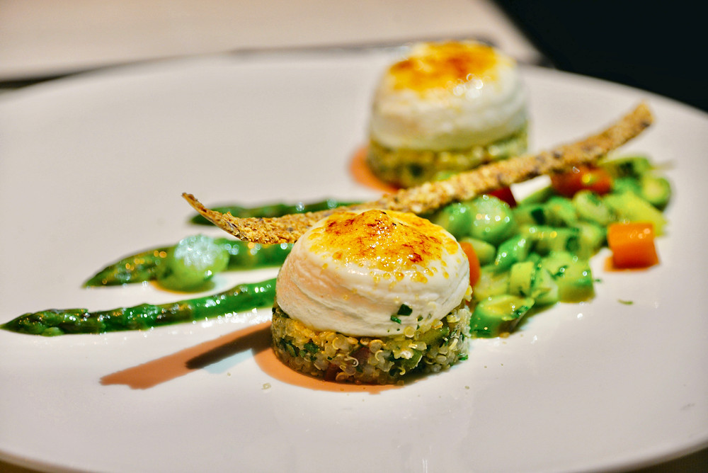 goat cheese mousse with quinoa salad and asparagus