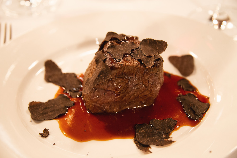 filet of beef with fine noodles and black summer truffles
