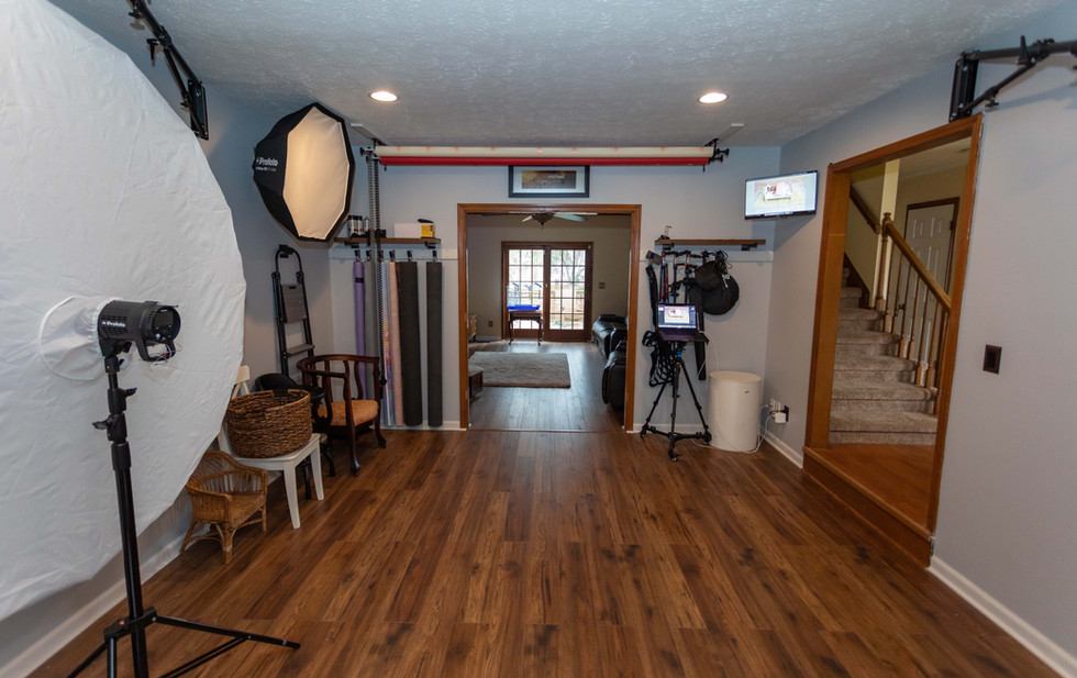 Studio opens up to living room where clients can get ready and rest. First floor bathroom and finished basement is available for private changing. Guest WiFi is availalble.