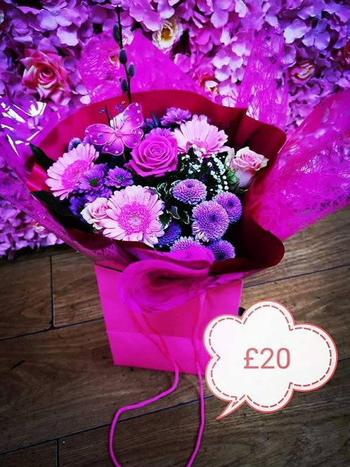 cerise bag of flowers
